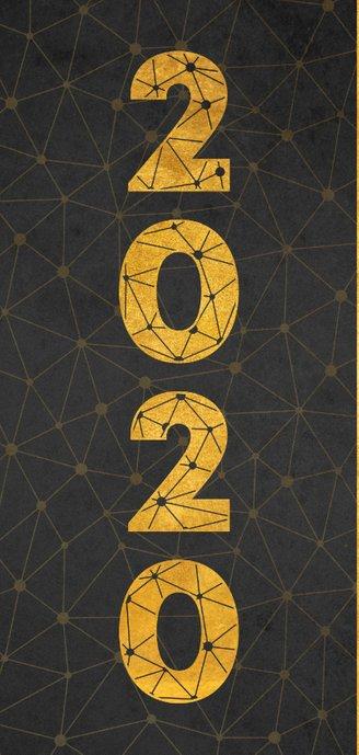 Moderne Neujahrskarte mit großer Jahreszahl 2