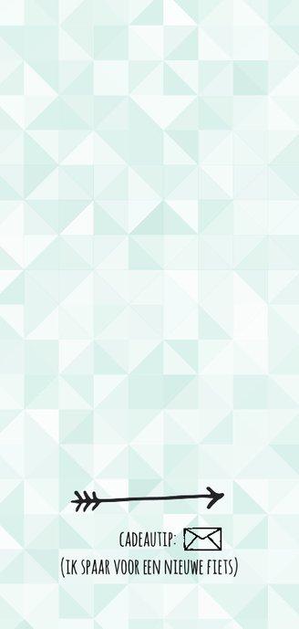 Moderne uitnodiging - groene ruitjes (langwerpig) Achterkant