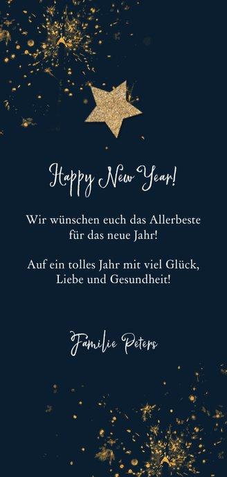 Neujahrskarte Feuerwerk, Foto und Stern Rückseite