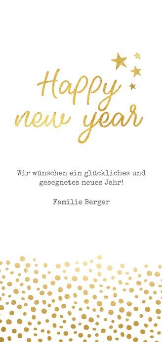 Neujahrskarte Goldlook Happy New Year mit Punkten und Foto Rückseite