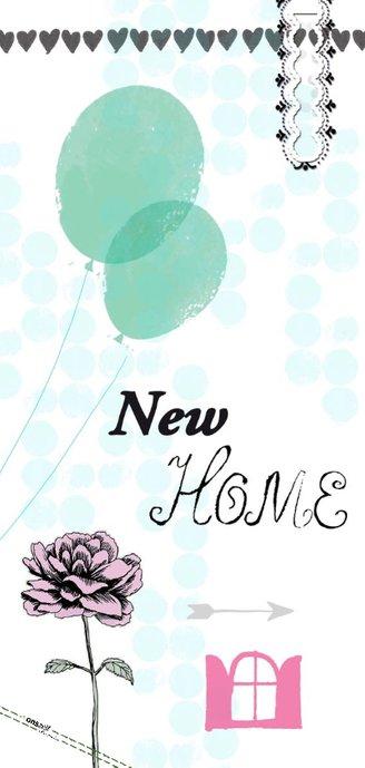 New Home felicitatiekaart met ballonnen, sleutels en foto 2