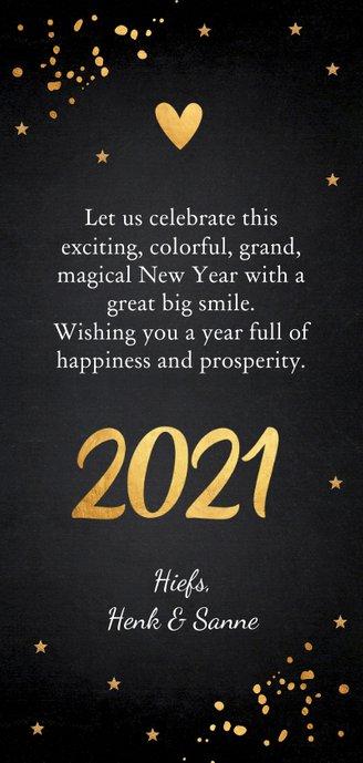 Nieuwjaarskaart foto hout krijtbord goudlook Achterkant