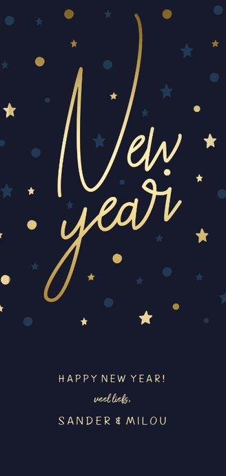 Nieuwjaarskaart gouden 'New Year', sterren en confetti Achterkant
