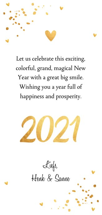Nieuwjaarskaart langwerpig foto confetti goudlook 3