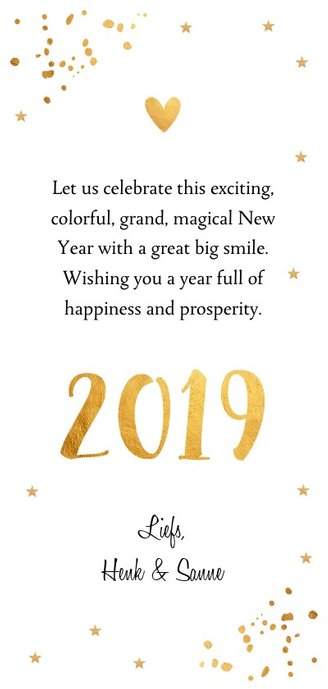 Nieuwjaarskaart langwerpig goud confetti foto 3