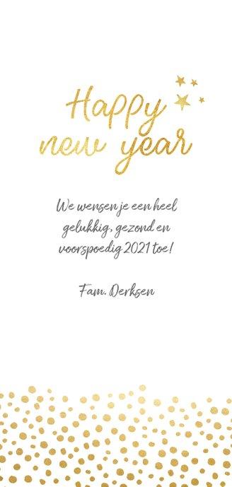 Nieuwjaarskaart langwerpig met gouden stippen  Achterkant