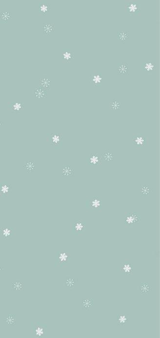 Nieuwjaarskaart met zachtgroene achtergrond en sneeuwsterren 2