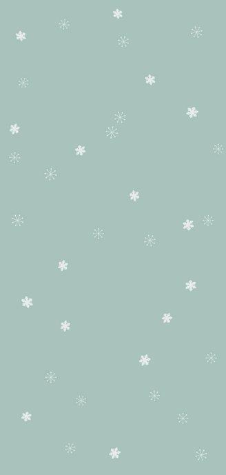 Nieuwjaarskaart met zachtgroene achtergrond en sneeuwsterren Achterkant