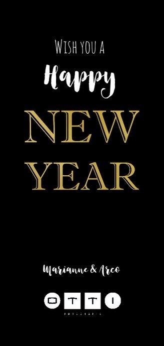 Nieuwjaarskaart zwart 19 goud Achterkant