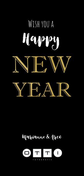 Nieuwjaarskaart zwart 20 goud Achterkant