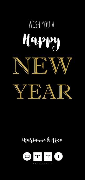 Nieuwjaarskaart zwart 21 goud Achterkant