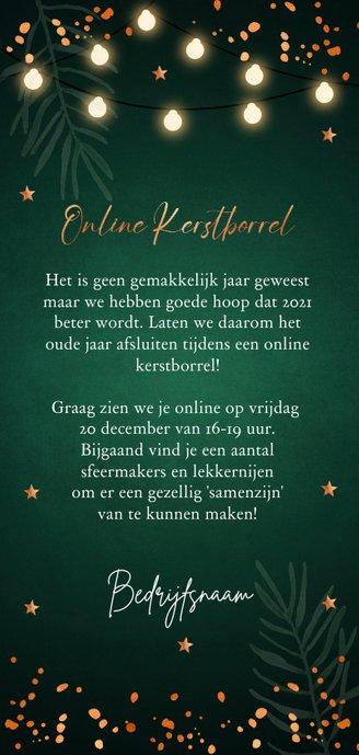 Online kerstborrel uitnodiging groen lampjes koperlook Achterkant