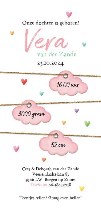 Op een roze wolk met regen van hartjes geboorte Achterkant