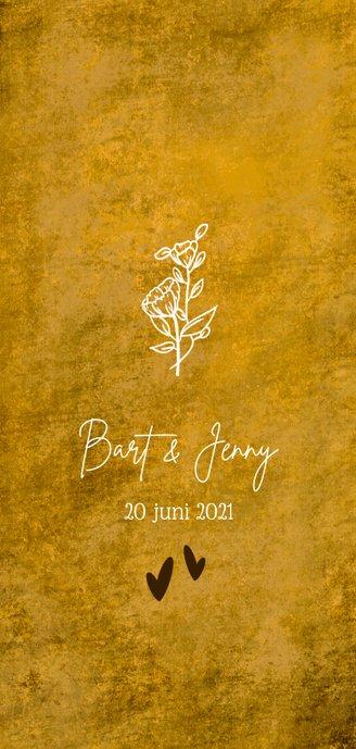 Romantische oker-gele menukaart met wilde bloemen Achterkant