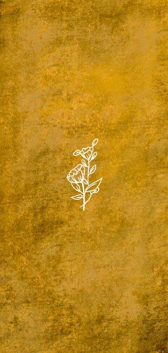 Romantische stoere oker-gele trouwkaart met wilde bloemen Achterkant