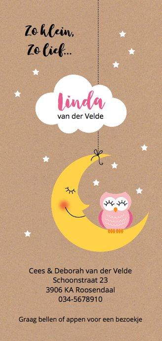 Roze uil op maan met wolk en sterretjes Achterkant