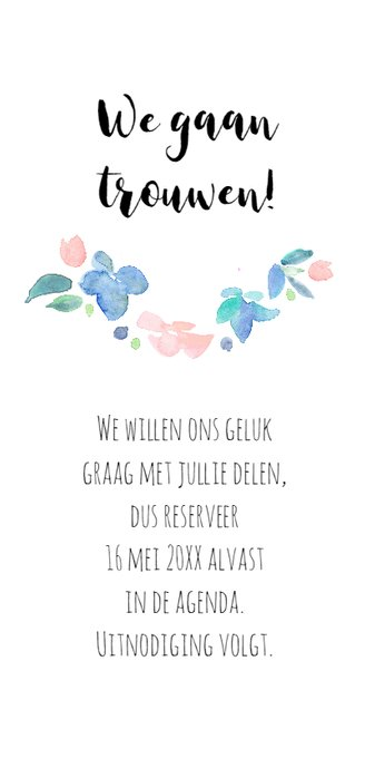 Save the date, aquarel bloemen 3
