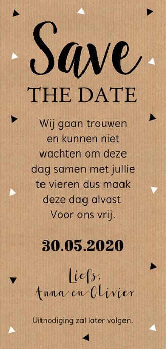 Save the Date kaart kraft langwerpig foto Achterkant