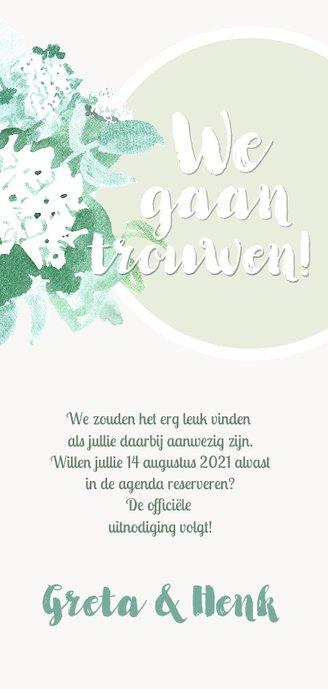 Save The Date kaart met waterverf bloemen in pastel kleuren Achterkant