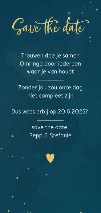 Save the date kaart waterverf en spatten Achterkant