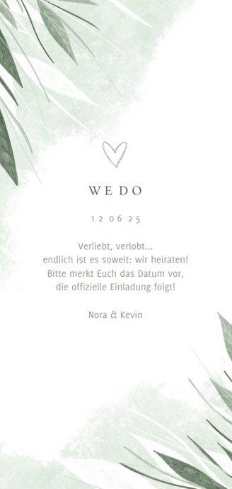 Save-the-Date-Karte Hochzeit zierliche Blätter Rückseite