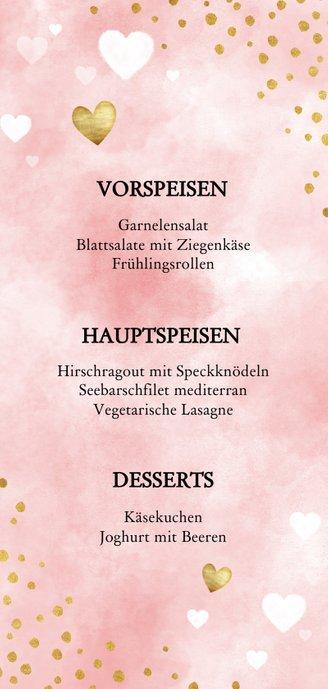 Speisekarte Aquarell rosa Punkte und Herzen Rückseite
