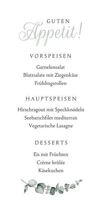 Speisekarte Hochzeit Marmor & Botanik Rückseite