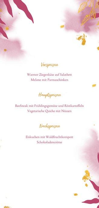 Speisekarte Konfirmation botanisch pink Rückseite