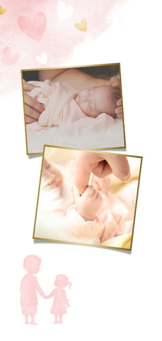 Speisekarte Taufe rosa großer Bruder und kleine Schwester 2
