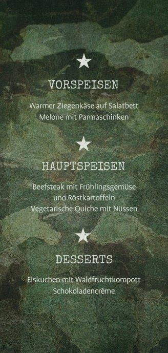Speisekarte zur Konfirmation Militarylook grün Rückseite