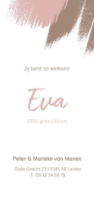 Staand geboortekaartje met roze en bruine brushes Achterkant