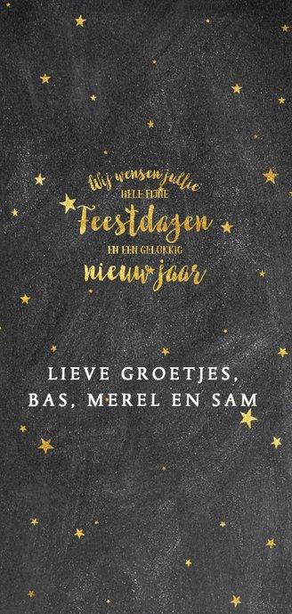 Stijlvolle kerstkaart met goudlook typografie en sterren 3