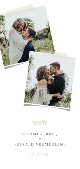 Stijlvolle langwerpige menukaart voor een huwelijk met foto 2