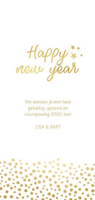 Stijlvolle langwerpige nieuwjaarskaart met gouden stippen Achterkant