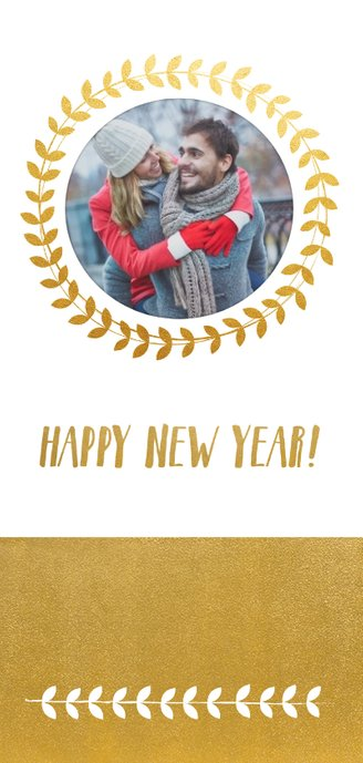 Stijlvolle langwerpige nieuwjaarskaart met krans en goudlook 2
