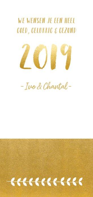 Stijlvolle langwerpige nieuwjaarskaart met krans en goudlook 3