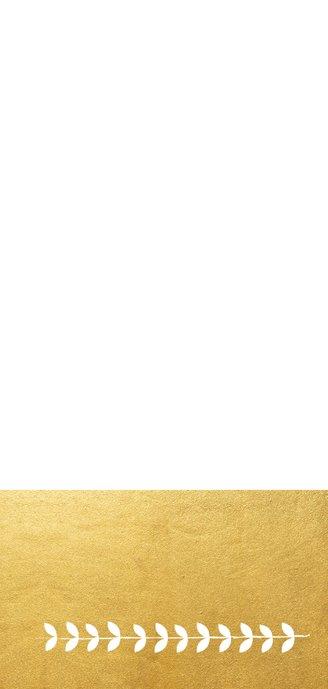 Stijlvolle langwerpige nieuwjaarskaart met krans en goudlook Achterkant