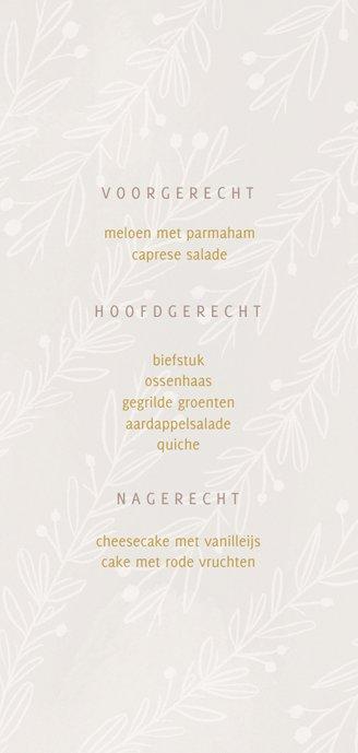 Stijlvolle menukaart gouden tekst naturel takjes Achterkant