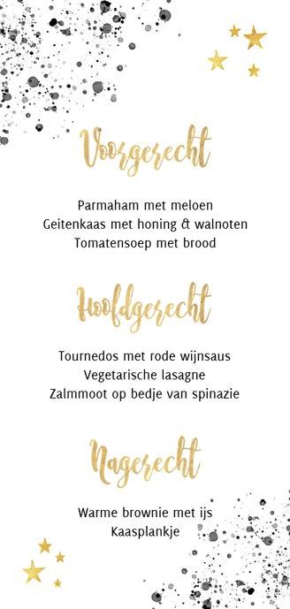 Stijlvolle menukaart kerstdiner zwarte verf gouden tekst Achterkant