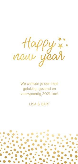 Stijlvolle nieuwjaarskaart met gouden stippen Achterkant