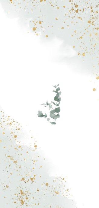 Stijlvolle trouwkaart waterverf, eucalyptus en gouden We do! Achterkant