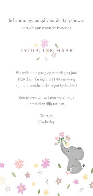 Stijlvolle uitnodiging babyshower met olifantje & bloemetjes Achterkant