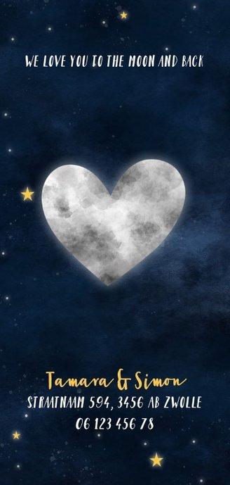Stoer geboortekaartje met hartvormige maan, sterren & heelal 2