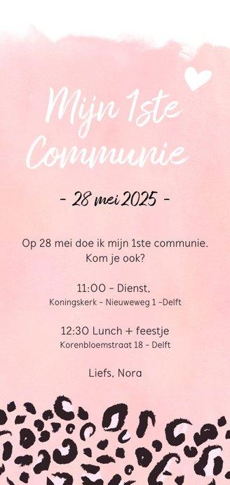Trendy communiekaart met roze luipaard print en foto Achterkant