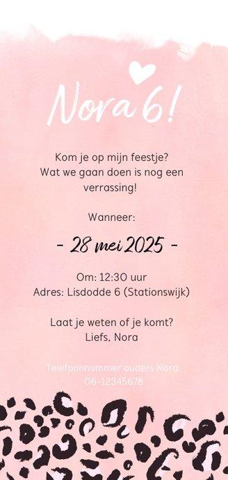 Trendy kinderfeest uitnodigingskaart met roze panterprint Achterkant