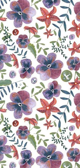 Trouwkaart botanisch viooltjes Achterkant