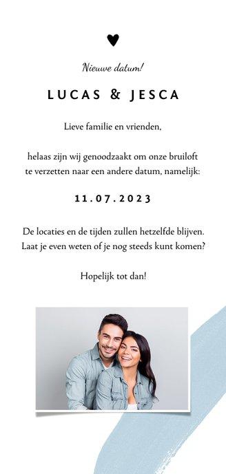 Trouwkaart change the date met verf en kalligrafie Achterkant