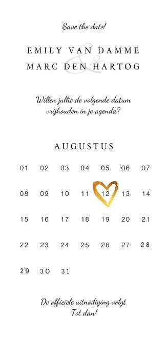 Trouwkaart save the date klassiek met bloemen en kalender Achterkant