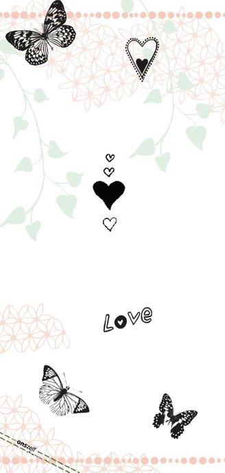 Trouwkaart Save the date met vlinders hartjes en fotokader 2
