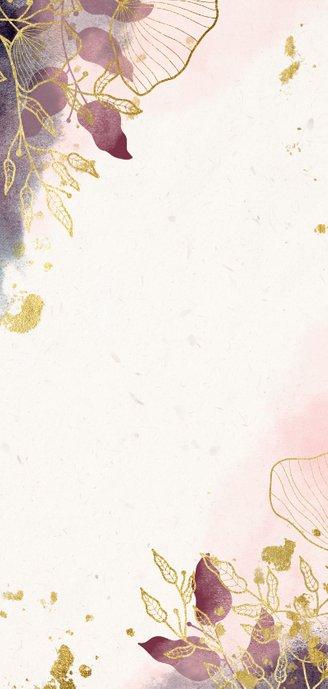 Trouwkaart stijlvol met foto, waterverf en gouden bloemen Achterkant